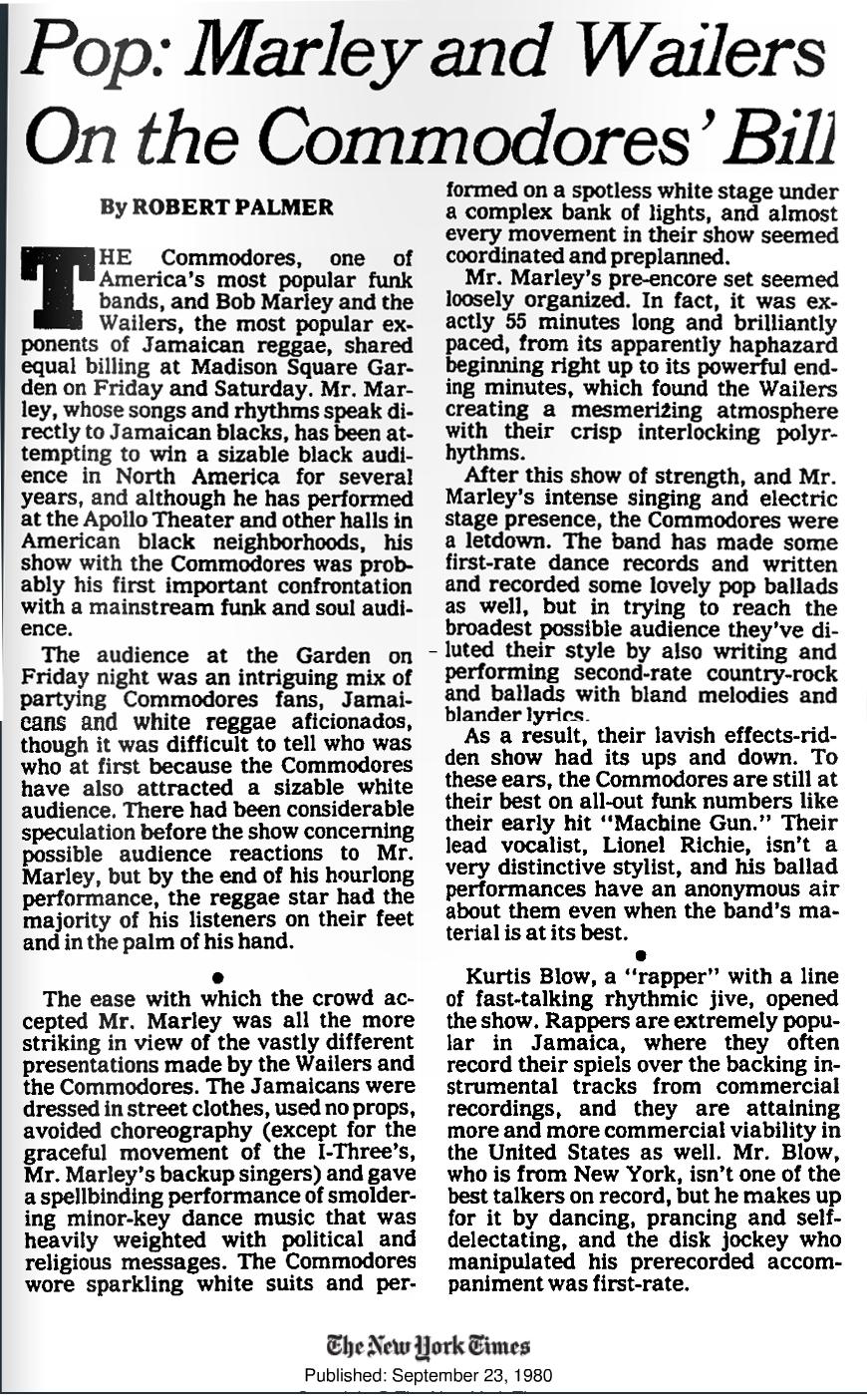 NY Times  09:23:80 Bob Marley