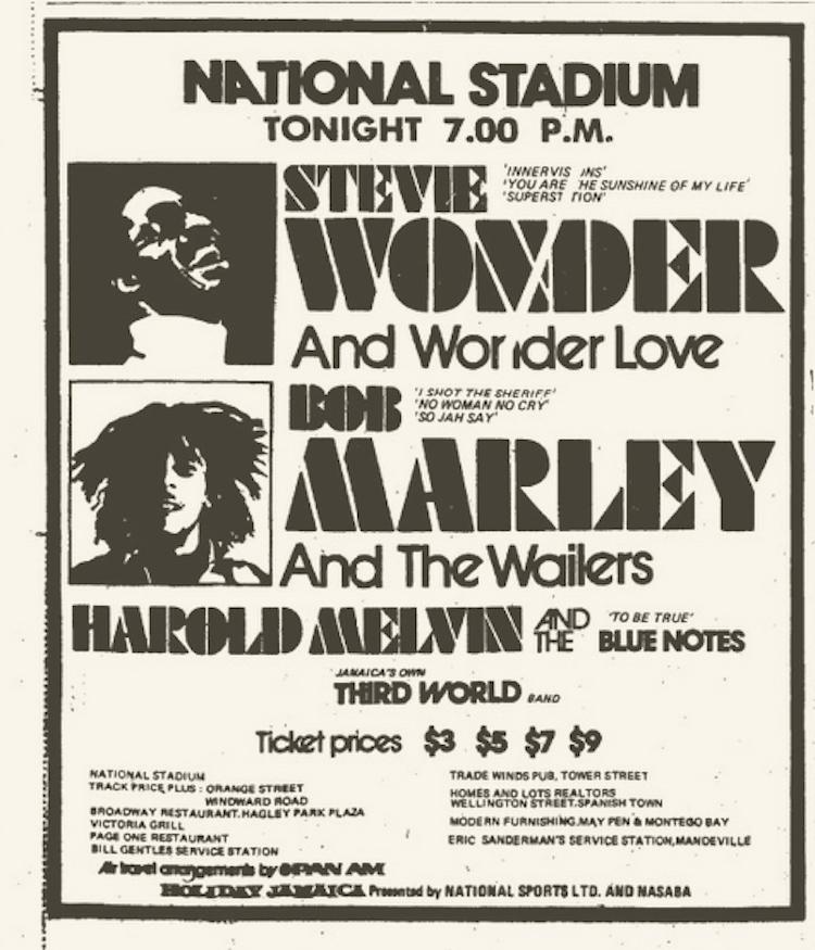 Bob Marley /& Steve Wonder  Jamaica Concert Poster Circa 1975 1970/'s